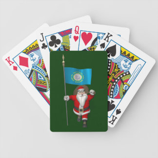 Santa Claus With Ensign Of South Dakota Bicycle Playing Cards