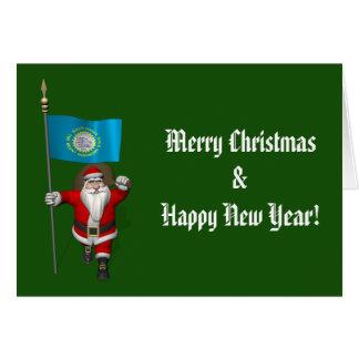 Santa Claus With Ensign Of South Dakota Card