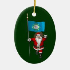Santa Claus With Ensign Of South Dakota Ceramic Ornament at Zazzle