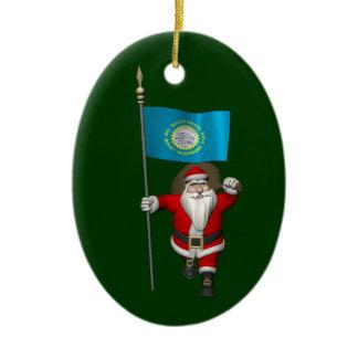 Santa Claus With Ensign Of South Dakota Ceramic Ornament