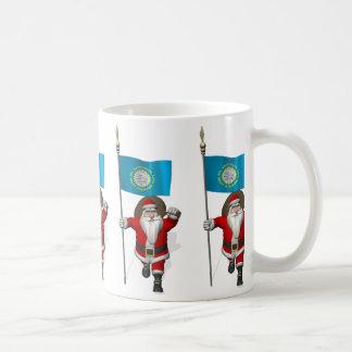 Santa Claus With Ensign Of South Dakota Coffee Mug