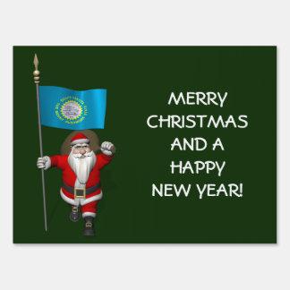 Santa Claus With Ensign Of South Dakota Yard Sign
