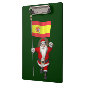 Santa Claus With Ensign Of Spain Clipboard