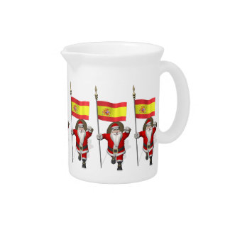 Santa Claus With Ensign Of Spain Drink Pitcher
