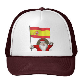 Santa Claus With Ensign Of Spain Trucker Hat