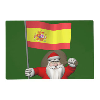 Santa Claus With Ensign Of Spain Laminated Placemat