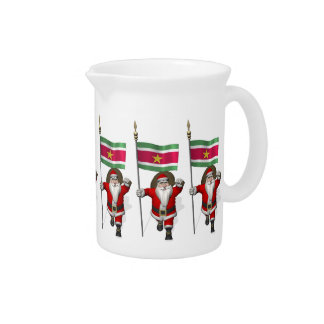 Santa Claus With Ensign Of Suriname Beverage Pitcher