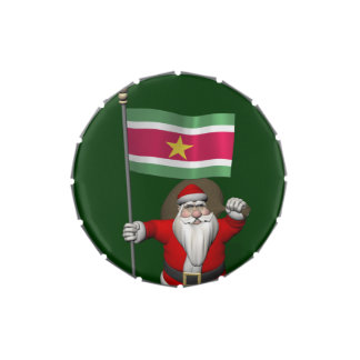 Santa Claus With Ensign Of Suriname Candy Tin