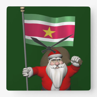 Santa Claus With Ensign Of Suriname Clock