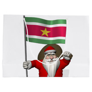 Santa Claus With Ensign Of Suriname Large Gift Bag