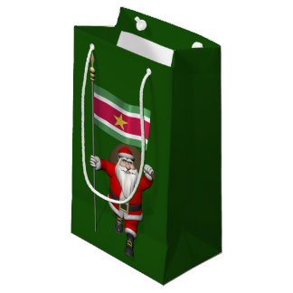 Santa Claus With Ensign Of Suriname Small Gift Bag