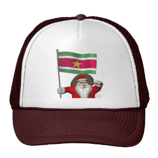 Santa Claus With Ensign Of Suriname Trucker Hat