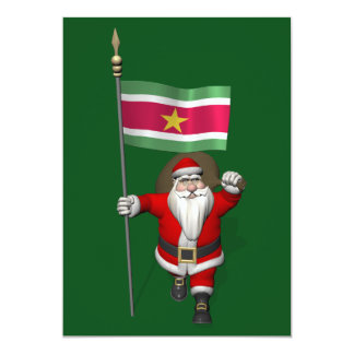 Santa Claus With Ensign Of Suriname Personalized Invitations