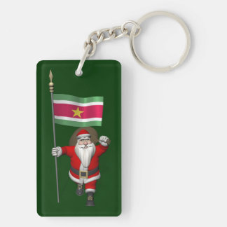 Santa Claus With Ensign Of Suriname Key Chains