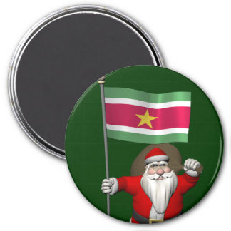 Santa Claus With Ensign Of Suriname Magnet