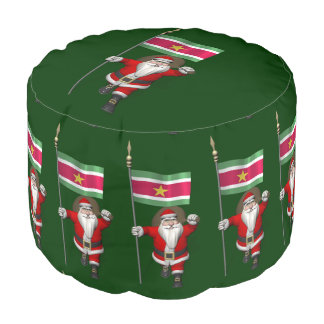 Santa Claus With Ensign Of Suriname Round Pouf