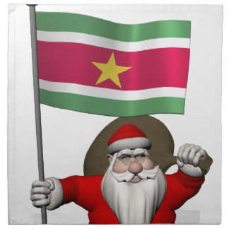 Santa Claus With Ensign Of Suriname Printed Napkins