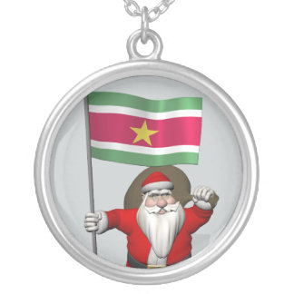 Santa Claus With Ensign Of Suriname Pendants