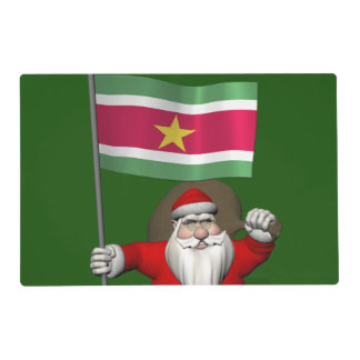 Santa Claus With Ensign Of Suriname Laminated Placemat