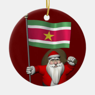 Santa Claus With Ensign Of Suriname Christmas Ornaments