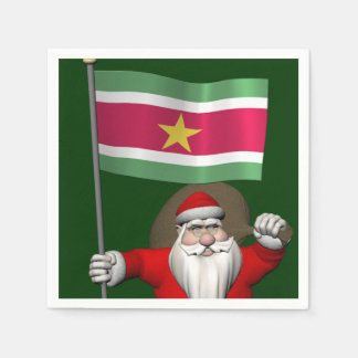 Santa Claus With Ensign Of Suriname Disposable Napkins