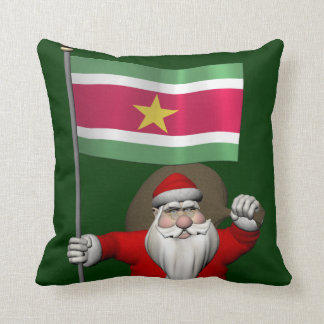 Santa Claus With Ensign Of Suriname Throw Pillow