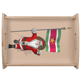 Santa Claus With Ensign Of Suriname Service Tray