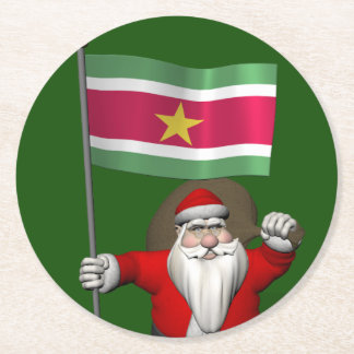 Santa Claus With Ensign Of Suriname Round Paper Coaster