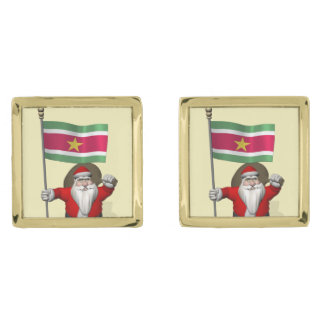 Santa Claus With Ensign Of Suriname Cufflinks