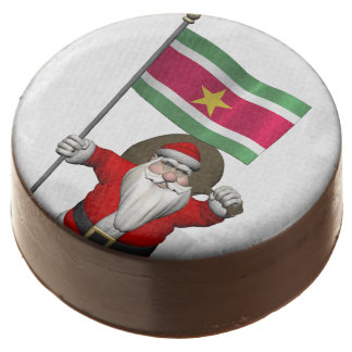 Santa Claus With Ensign Of Suriname Chocolate Dipped Oreo
