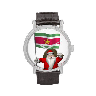 Santa Claus With Ensign Of Suriname Wrist Watch