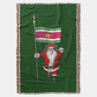 Santa Claus With Ensign Of Suriname Throw