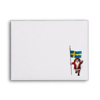 Santa Claus With Ensign Of Sweden Envelope