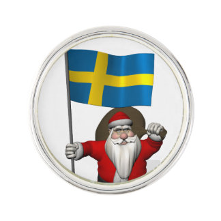 Santa Claus With Ensign Of Sweden Lapel Pin