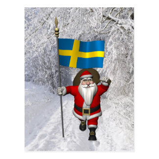 Santa Claus With Ensign Of Sweden Post Card