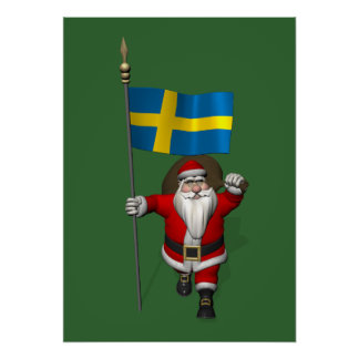 Santa Claus With Ensign Of Sweden Poster