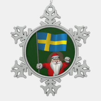Santa Claus With Ensign Of Sweden Snowflake Pewter Christmas Ornament