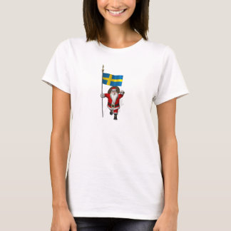 Santa Claus With Ensign Of Sweden T-Shirt