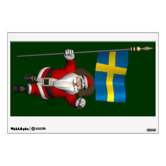 Santa Claus With Ensign Of Sweden Wall Sticker