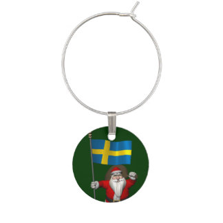 Santa Claus With Ensign Of Sweden Wine Charm
