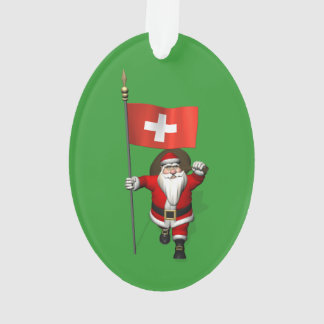 Santa Claus With Ensign Of Switzerland Ornament