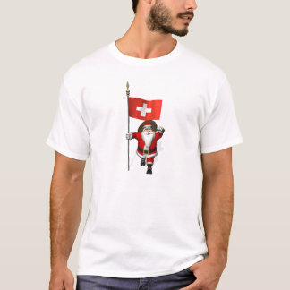 Santa Claus With Ensign Of Switzerland T-Shirt