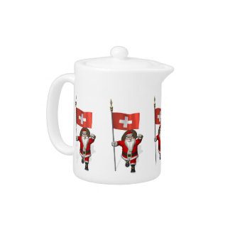 Santa Claus With Ensign Of Switzerland Teapot