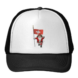 Santa Claus With Ensign Of Switzerland Trucker Hat