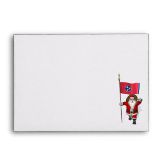 Santa Claus With Ensign Of Tennessee Envelope