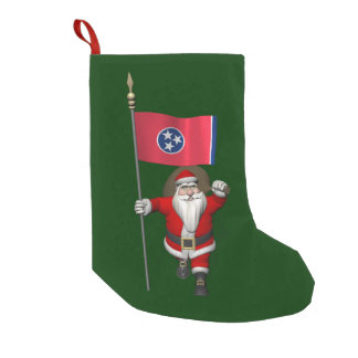 Santa Claus With Ensign Of Tennessee Small Christmas Stocking