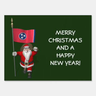 Santa Claus With Ensign Of Tennessee Yard Sign