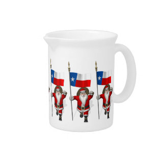 Santa Claus With Ensign Of Texas Beverage Pitcher