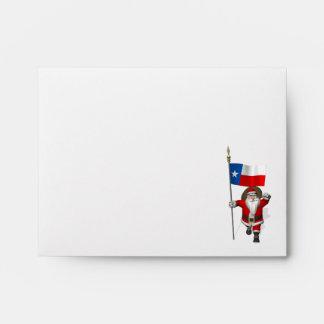Santa Claus With Ensign Of Texas Envelopes