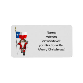 Santa Claus With Ensign Of Texas Label